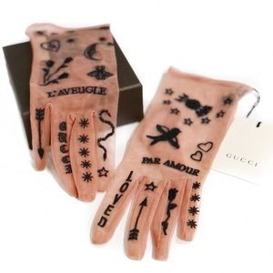 Gucci Accessories - GUCCI Nude Pink Sheer Glove Set with Tattoo Finish